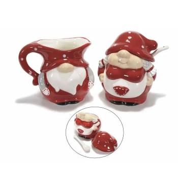 Tasse Et Theiere En Ceramique rouge Avec Chat Amoureux En Relief